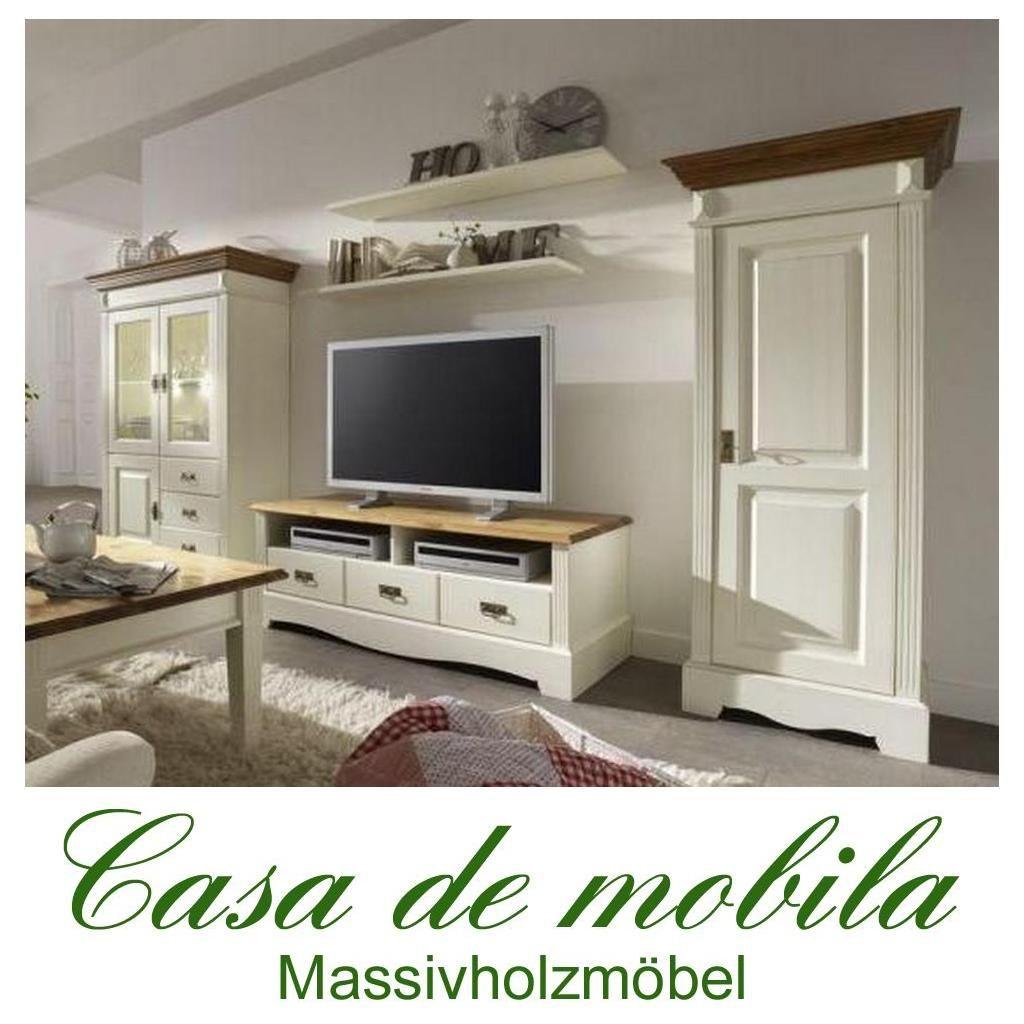 Schön Massivholz Wohnwand Kiefer Massiv Weiß Honig Anbauwand Landhausstil  Wohnzimmerschrank PARIS   Vintage, 2 Farbig