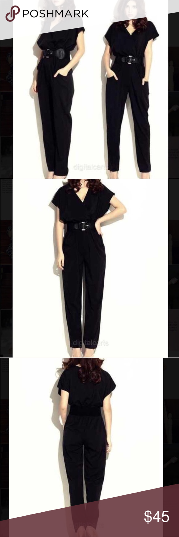 Black jumpsuit Beautiful new black jumpsuit. Never worn. No size tag but it'll fit a medium or large. This is not FP, but it's the same style of something they would sell Free People Pants Jumpsuits & Rompers