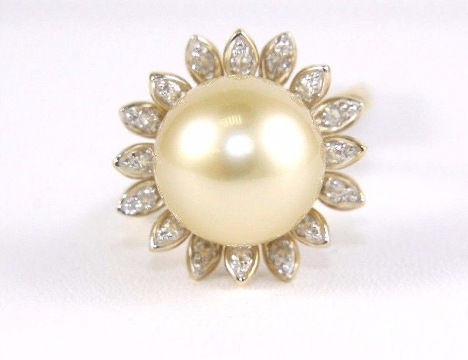 Fine South Sea Pearl Solitaire Ring w/Diamond Leaf Halo 14k Yellow Gold 12mm #LAJ #Solitaire