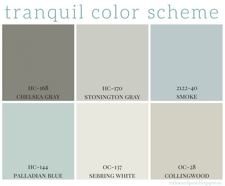 Tranquil color scheme calming colors benjamin moore and for Choose paint color scheme