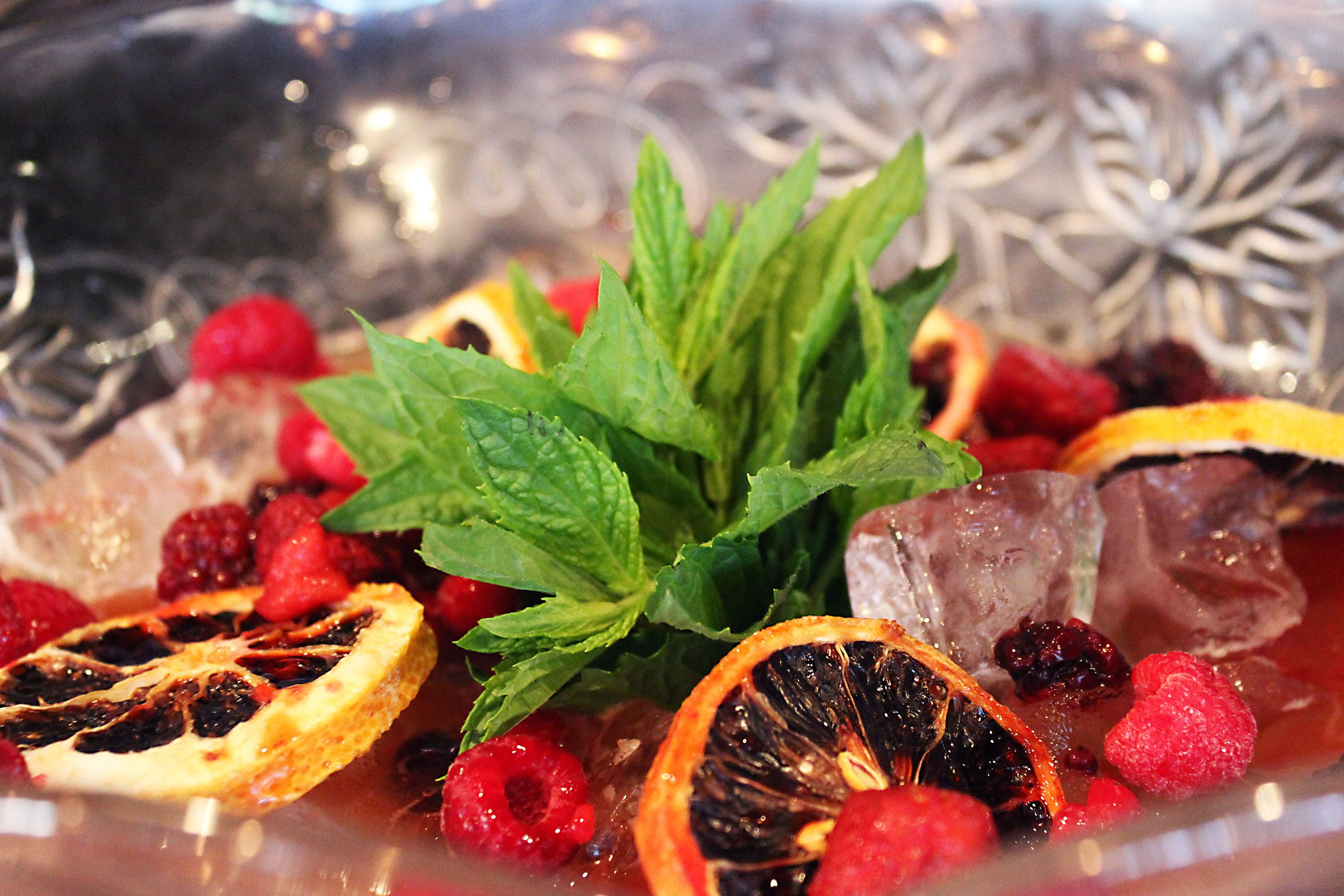 $39 PUNCH BOWLS - Berrys, Guns & a Fast Car Outa Here. Comprising of port, Orange Juice, Sweet vermouthe, Bitters, creme de mure, mint, pineapple, candied orange and blackberrys