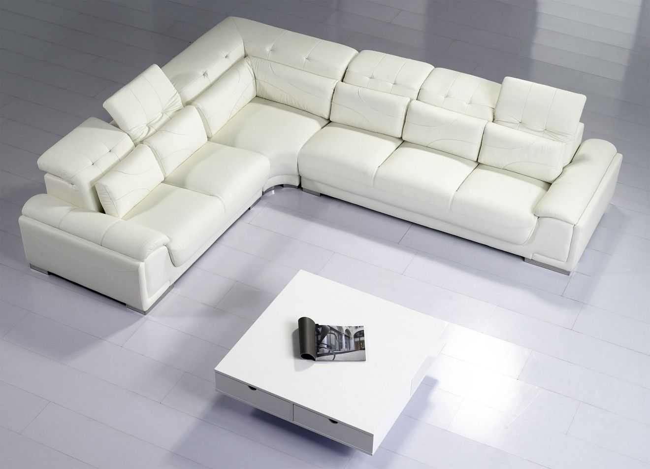 Camellia White Leather Corner Sofa Suite... For details visit www ...