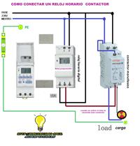 Como Conectar Un Reloj Horario Digital Con Maniobra De Contactor 2polos Esquemas Electricos Diagrama De Instalacion Electrica Instalación Electrica