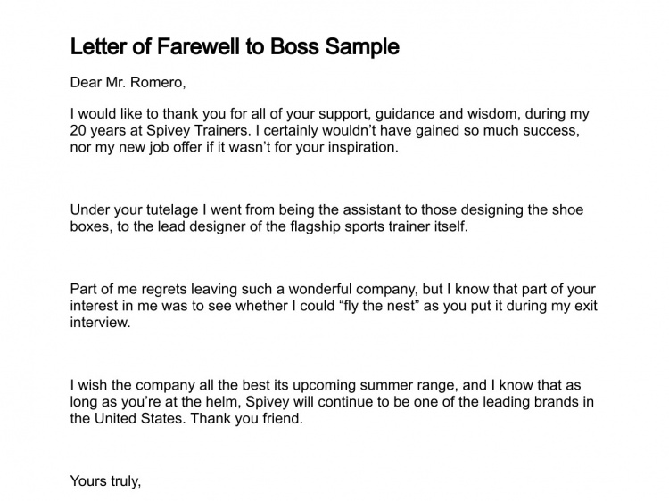 Thank You Boss Pics Photos Farewell Letter Retirement Samplesgoodbye Formal Sample