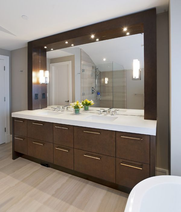 Attrayant Sleek And Stylish Modern Bathroom Vanity Sparkles Thanks To Well Placed  Lighting