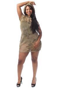 Plus Size Mesh Short Sleeve Camo Army Fatigue Print Hooded Mini ...