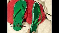 chinelos decorados com croche - YouTube