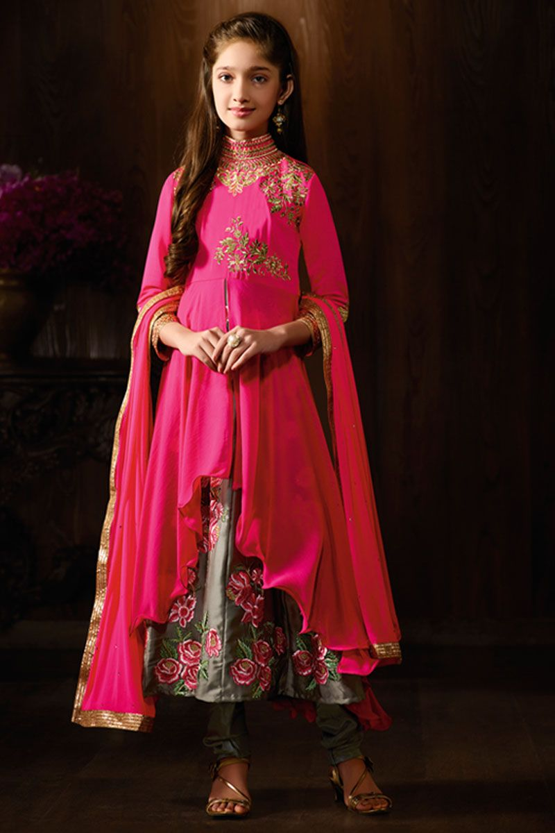 Pink and Grey Attractive Georgette Fabric Indian Designer Lehenga ...