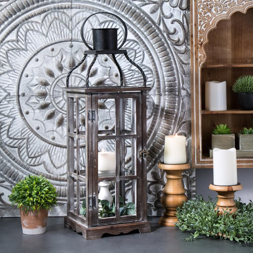 Glitzhome Oversized Natural Grey Farmhouse Wood Metal Lantern Set Of 2 Brown In 2020 Lanterns Decor Metal Lanterns Lantern Set