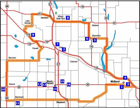 Remus Michigan Map.Midland Harrison Remus Map Michigan Pinterest Road Trip