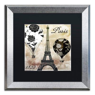 "Trademark Art 'Ceil Jaune I' Framed Graphic Art Mat Color: Black, Size: 16"" H x 16"" W x 0.5"" D"