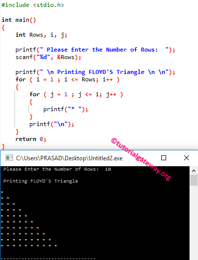 C Program To Print Floyd S Triangle Computer Programming