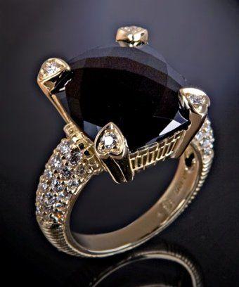 Judith Ripka - black onyx and pave diamond 'Lola' ring