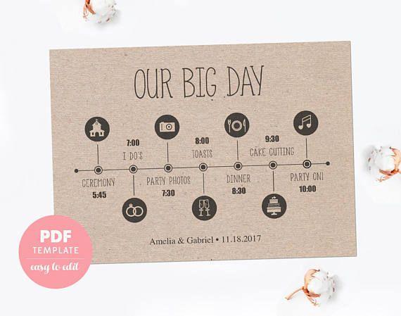 Wedding timeline card Wedding template card Easy editable PDF