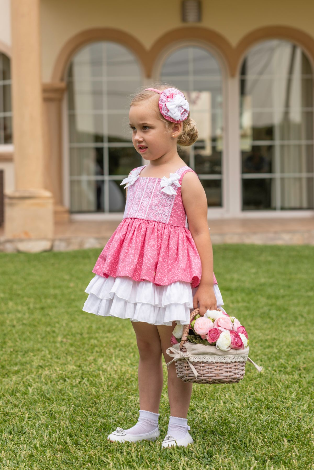 9c99f1489 Dolce Petit Colección Primavera Verano 2019. Vestido para niña en algodón  color rosa fuerte estampado