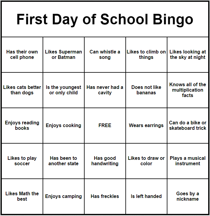 First day of school bingo esy pinterest school for Ice breaker bingo template