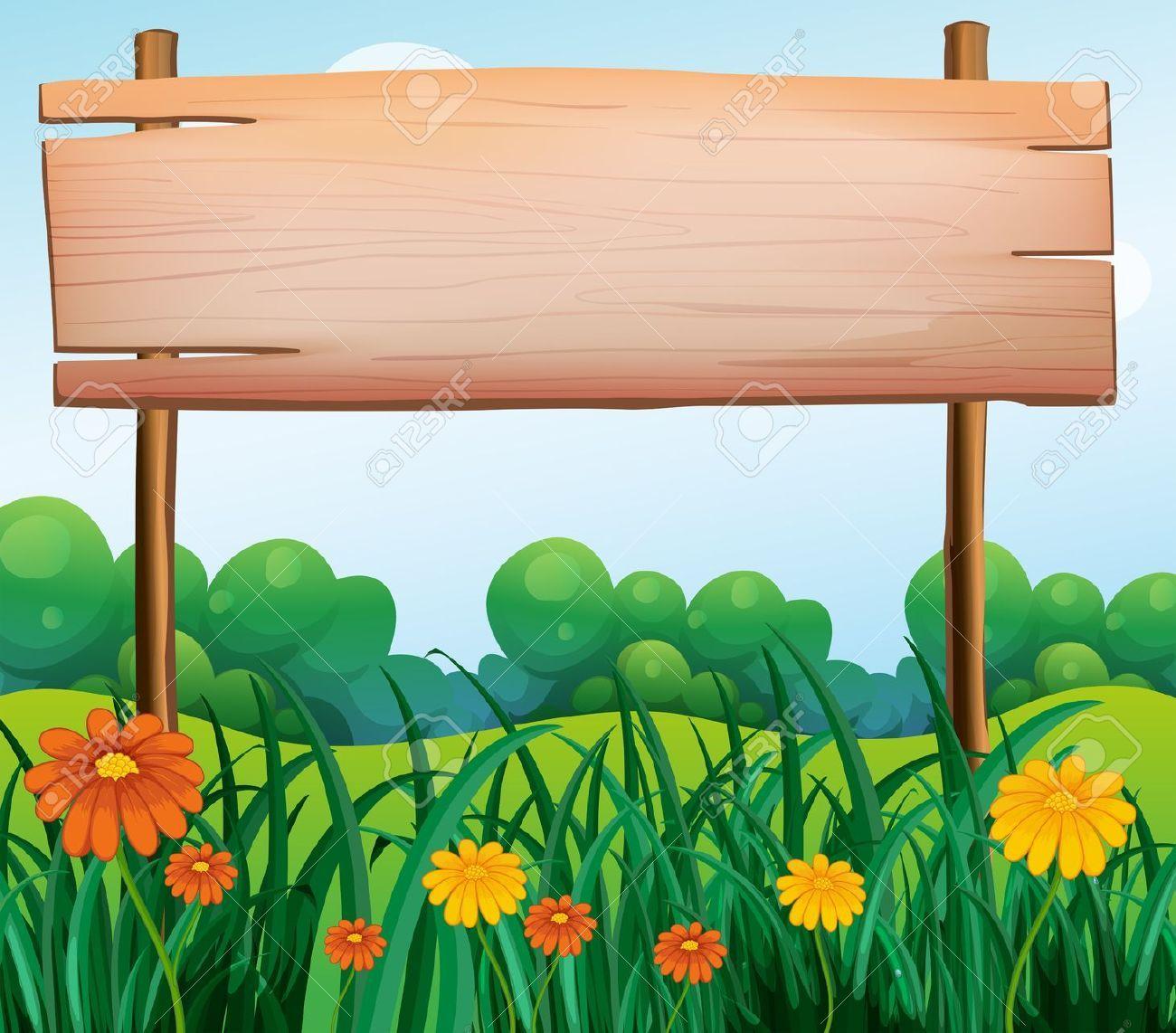 Clip Art Wooden Sign Board In Garden - Google
