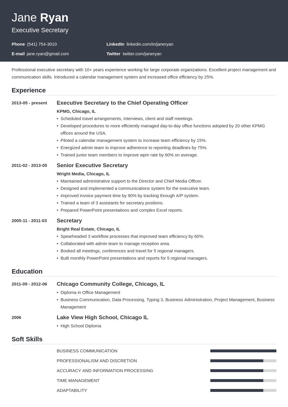 secretary resume example template influx in 2020 Resume