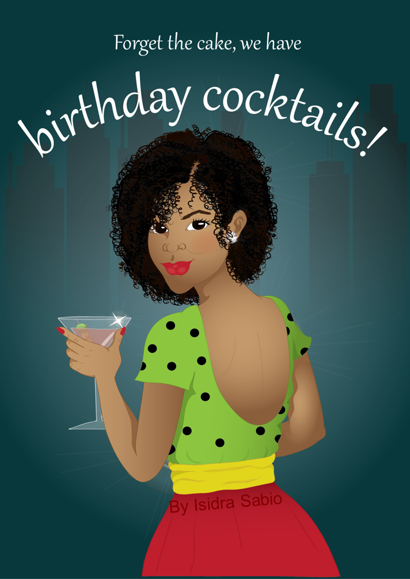 Birthday Woman Beautiful Black Woman Having A Cocktail Card