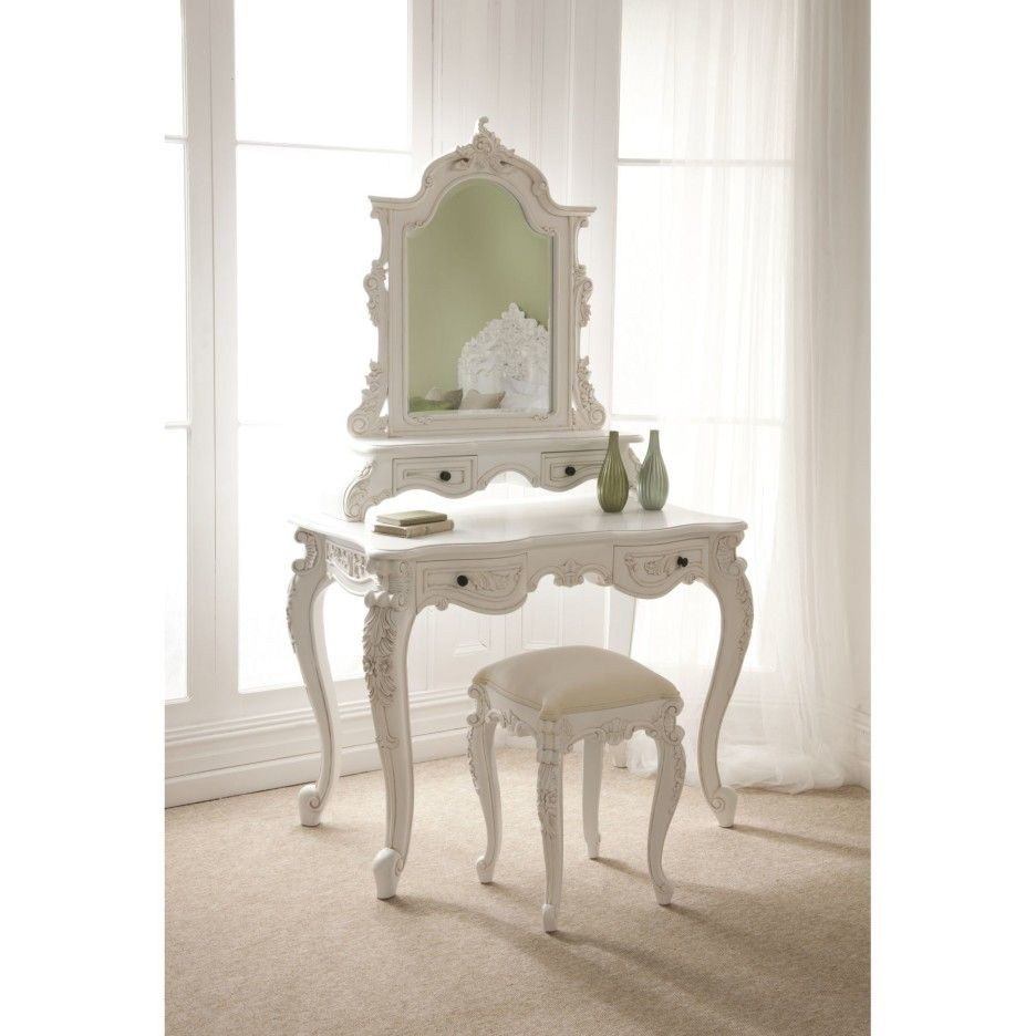 Furniture Carved White Wooden Dressing Tables With Mirror Mixed Stool In Fron Of Stained Frame Gl Window Curtain