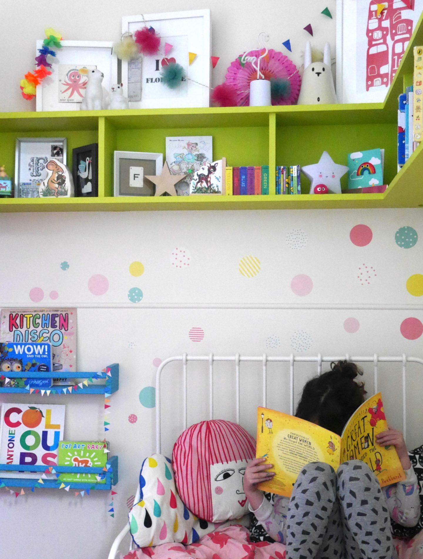 Painted Wall Shelves Stickers And Ikea Hack Bookshelves In A Colourful Children S Bedroom Kidsroom In Colorful Kids Room Kids Rooms Diy Wall Shelves Bedroom