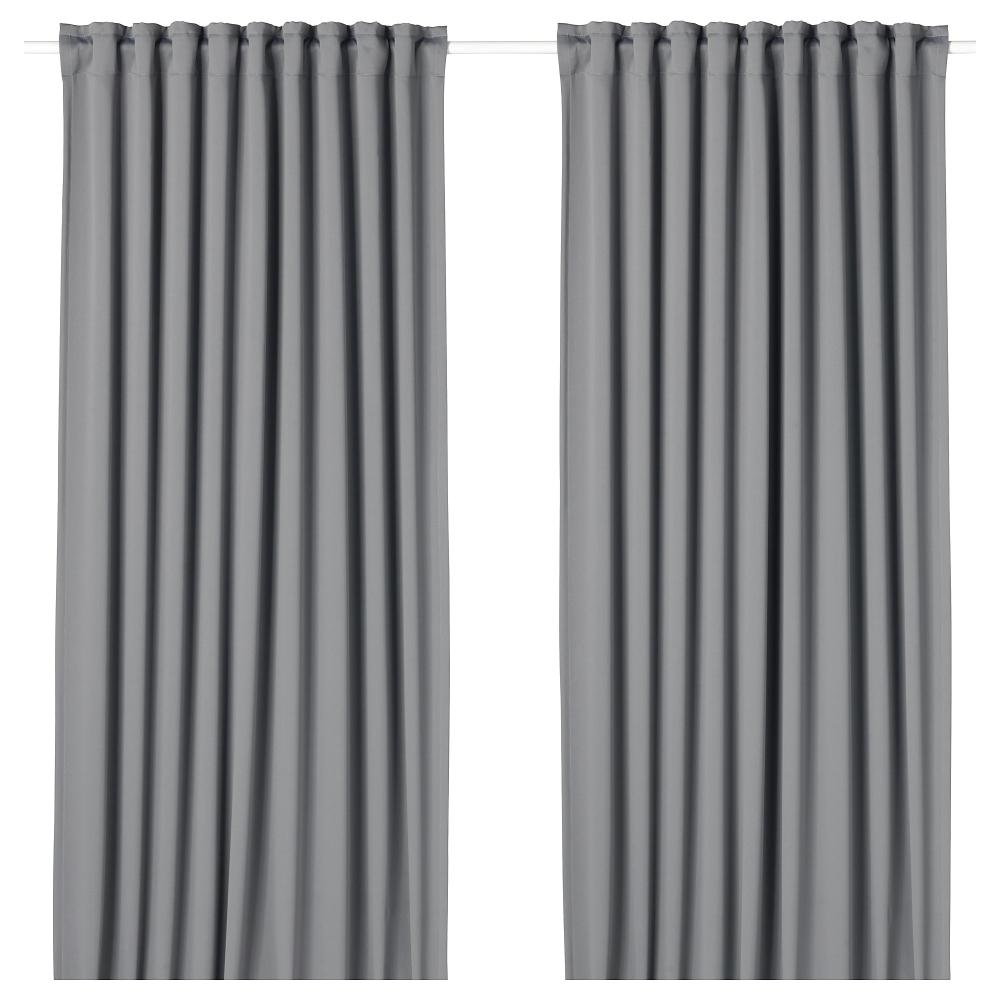 Majgull Blackout Curtains 1 Pair Gray 57x98 Ikea Block Out Curtains Curtain Rods Blackout Curtains