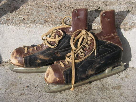 vintage daoust senior pro ice skates leather by rivertownvintage