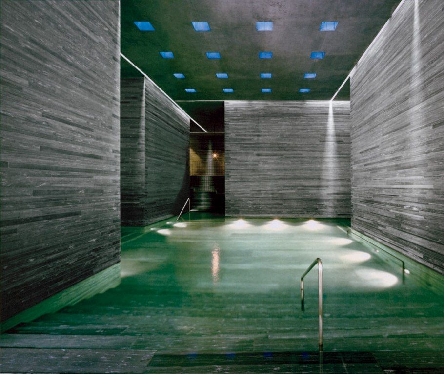 OMG. The Thermal Bath (walls And Pool Made Of Vals Gneiss Stone) At A Swiss Spa, Designed By
