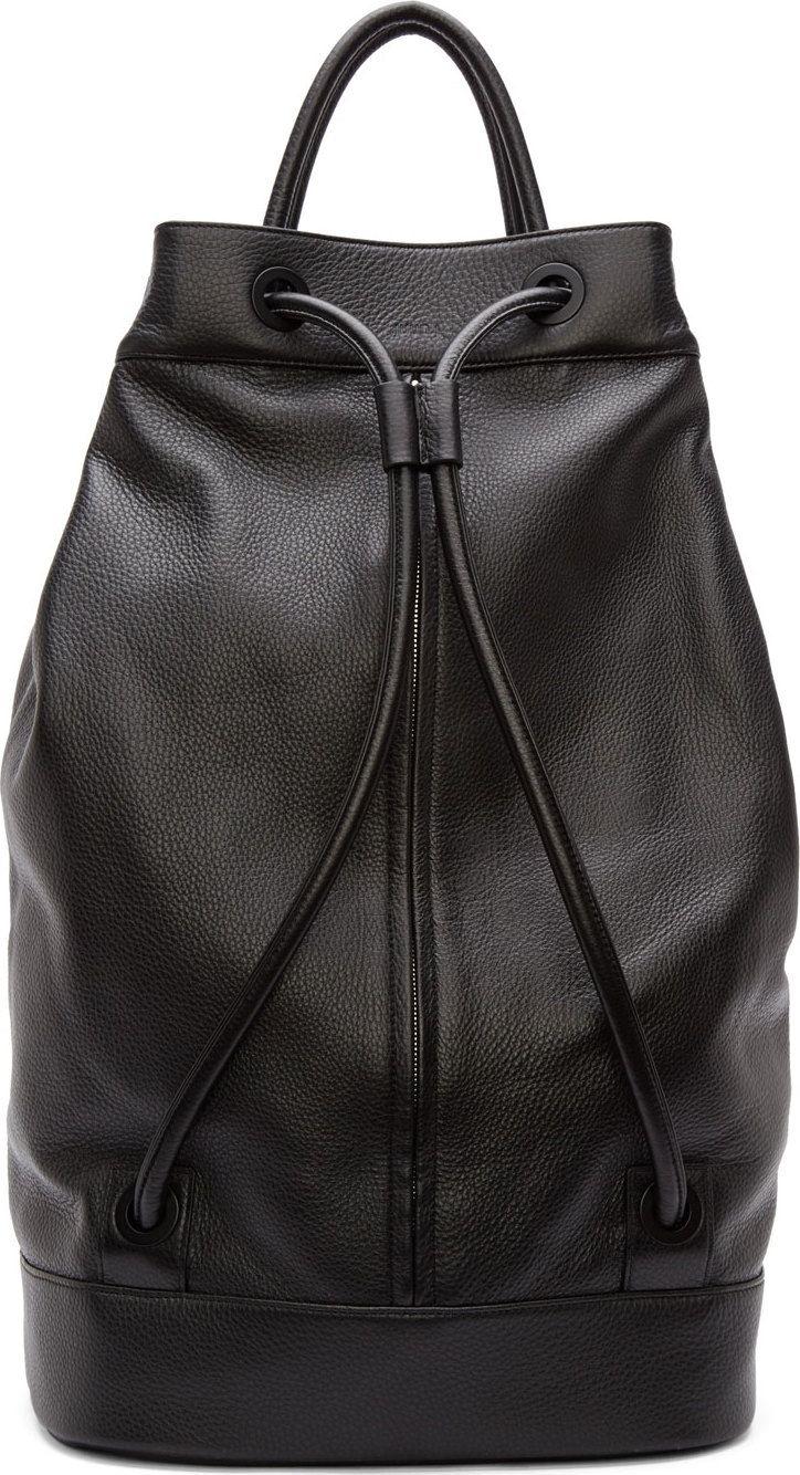 3d377df1c7a4 Black Leather Drawstring Backpack- Fenix Toulouse Handball