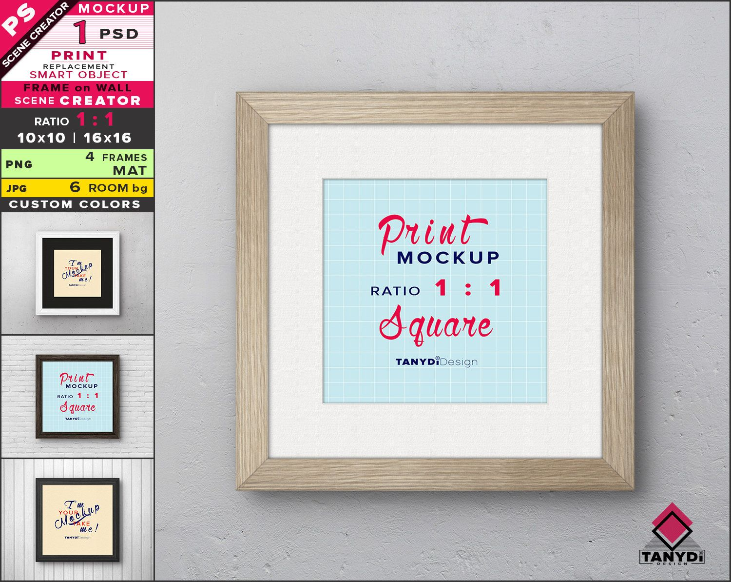 Square Frame On Wall Photoshop Print Mockup Png Black White Wood Frame And Mat Smart Object Mock Up Scene Creator F 11 W 2 Scene Creator Frames On Wall Print Mockup