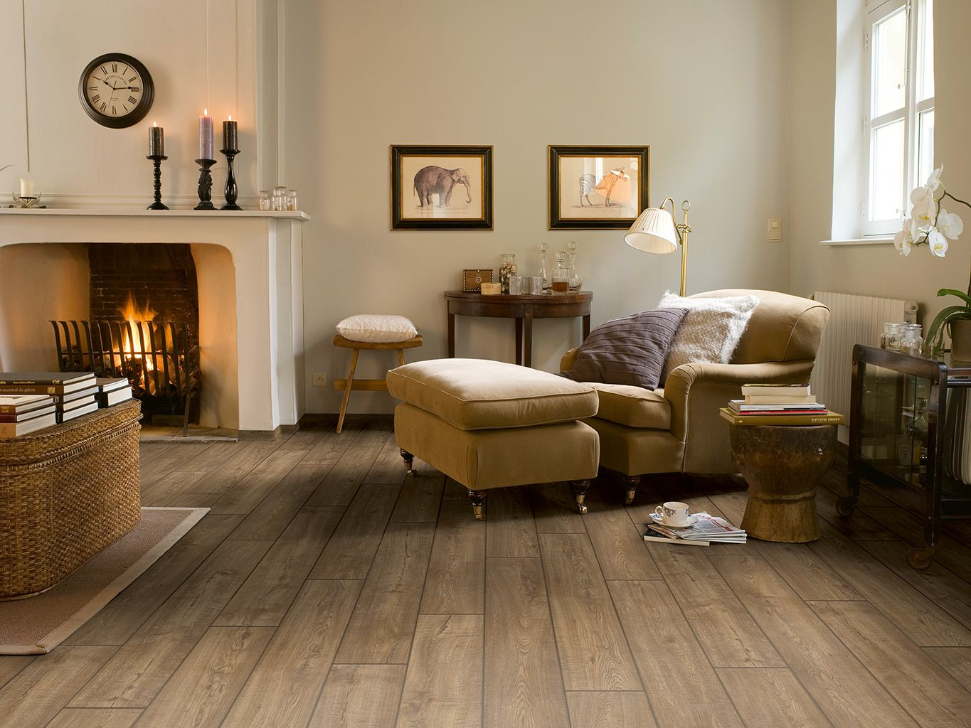 Light tile with a seamless transition to dark wood floor ...
