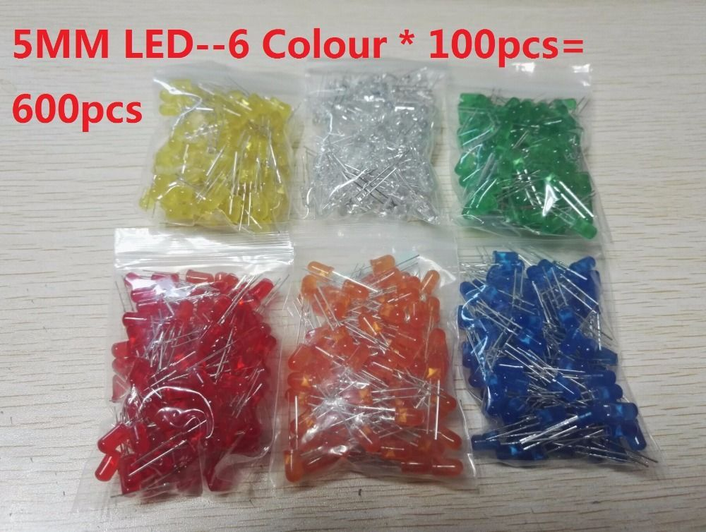 600pcs=6 colors*100pcs White Red Green Blue Yellow Orange 5mm LED kits F5 Diffused Light Emitting Diode Lamp Assorted Kit Set #lightemittingdiode 600pcs=6 colors*100pcs White Red Green Blue Yellow Orange 5mm LED kits F5 Diffused Light Emitting Diode Lamp Assorted Kit Set #lightemittingdiode