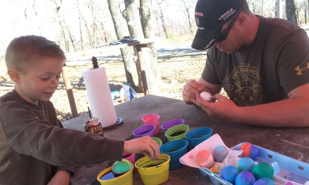 My Two Favorite Men dying Easter Eggs