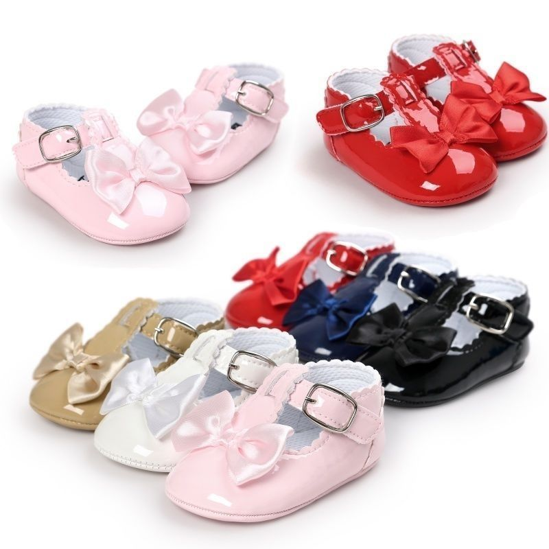 Newborn Baby Toddler Girl Crib Shoes Soft Leather Prewalker Anti-slip Moccasins