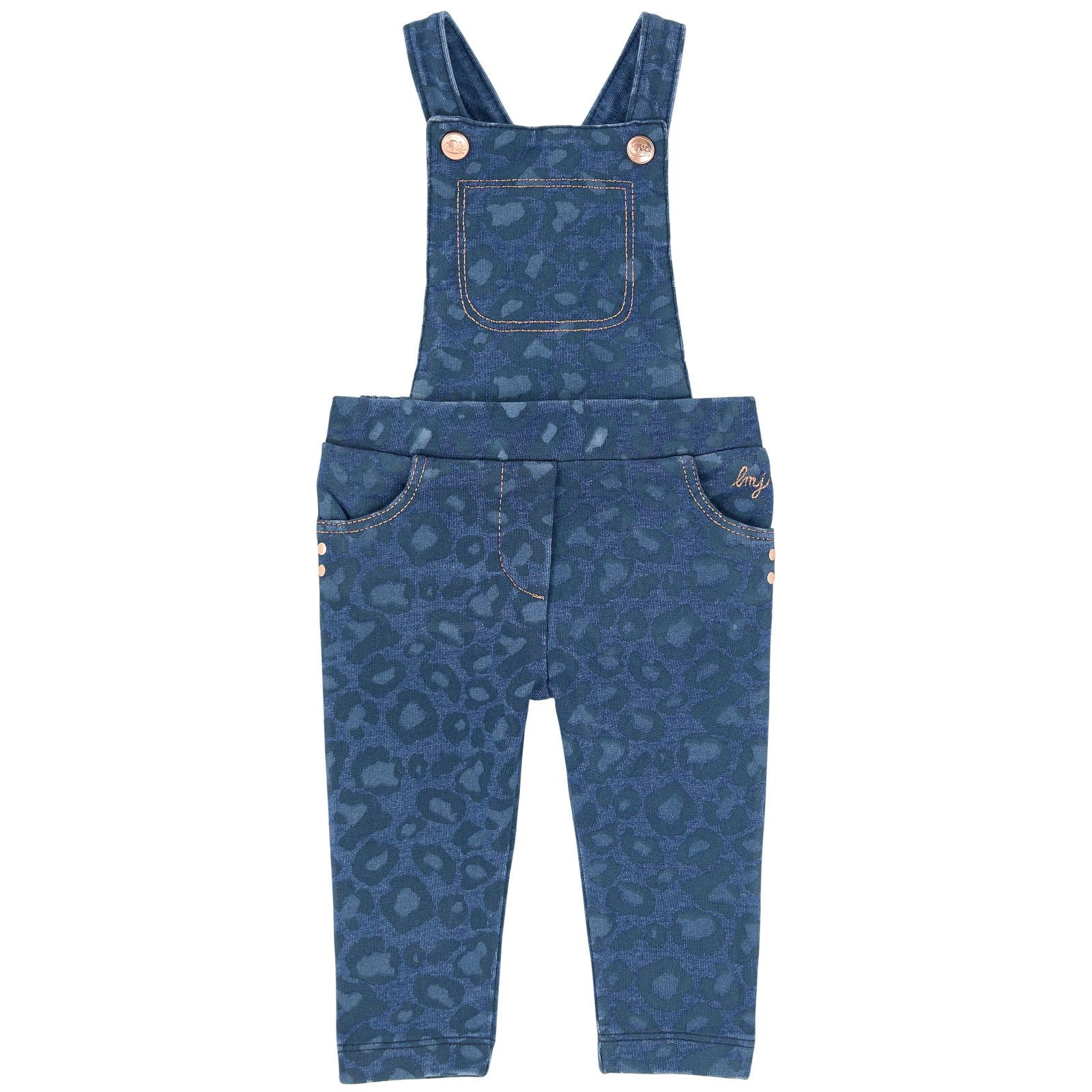 Cotton fleece    Stretch item 2 in 1 item Removable hair clip Straps on the shoulders Criss-cross straps in the back Straight fit Rounded pockets Snap straps on the chest Half-elastic waistband Lurex thread Animal print Fancy studs Embroidered brand - 137.35 €