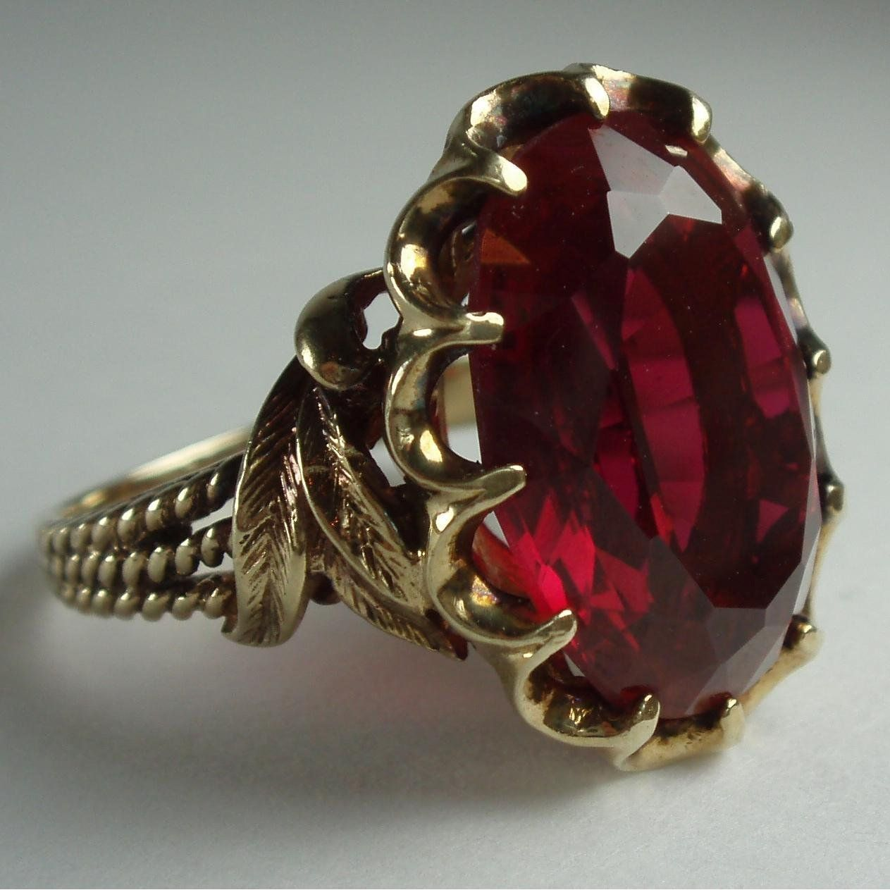 Vintage style Gift Wedding Engagement Women ring Lab Ruby Art Deco ring Antique Girl Lab Sapphire ring