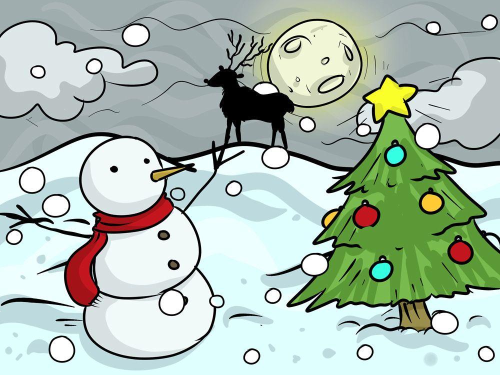 40+ Christmas Images for Drawing Christmas scene drawing