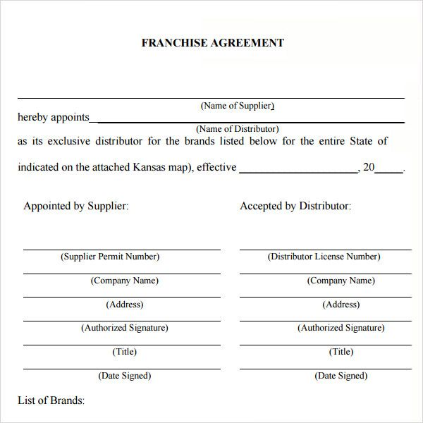 Sample Franchise Agreement Franchise Agreement Template At