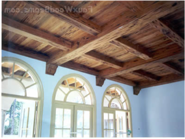 How to create wood look for drop ceilng ceiling panels for Fake wood beams for ceiling