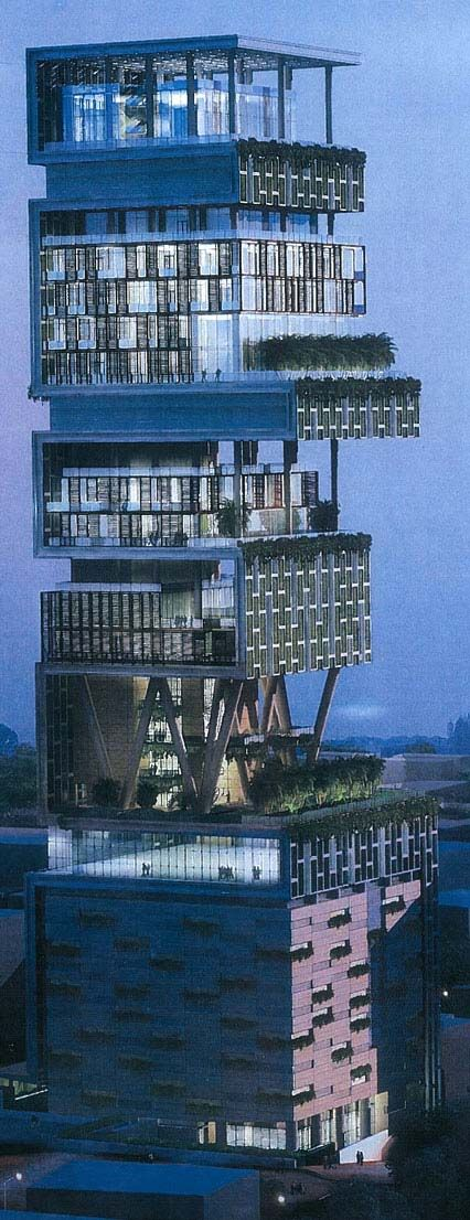 """Mukesh Ambani's World First Billion-Dollar Home -- over the top excessiveness within a stones throw of some of the world's poorest people.  how does one justify """"owning"""" such a thing ... 400,000 sq ft living space for one family - 9 elevators... (details inside and also in June 2012 vanity fair)"""