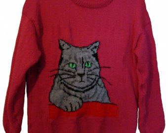 Childrens & Adults Grey Cat Jumper / Sweater Knitting Pattern PDF Instant Download