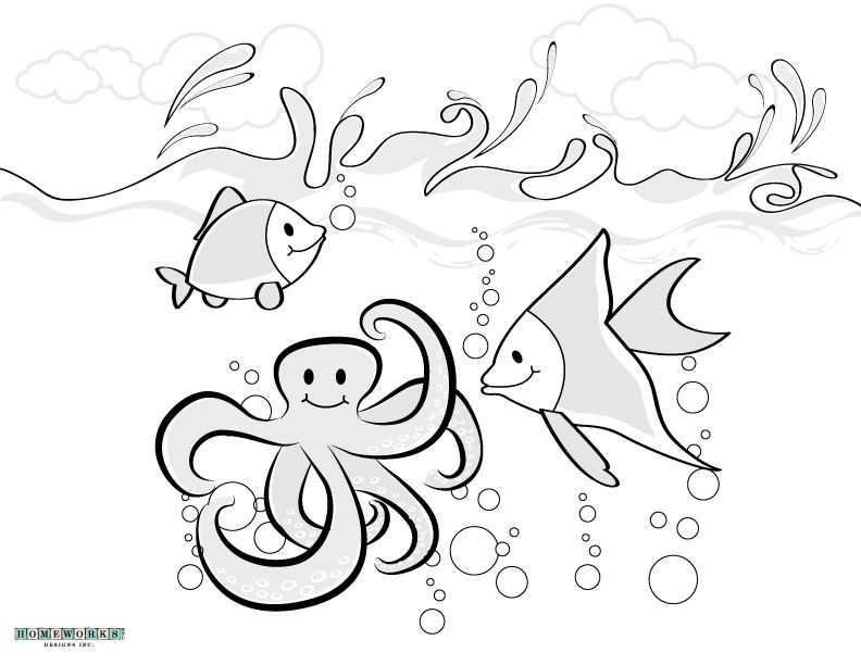 Ocean theme coloring page printable (fish and octopus