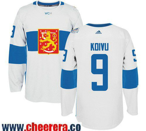 Men's Team Finland #9 Mikko Koivu adidas White 2016 World Cup of Hockey  Stitched WCH