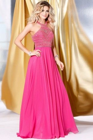 Fuchsia Embellish A-Line Prom Dress 4038