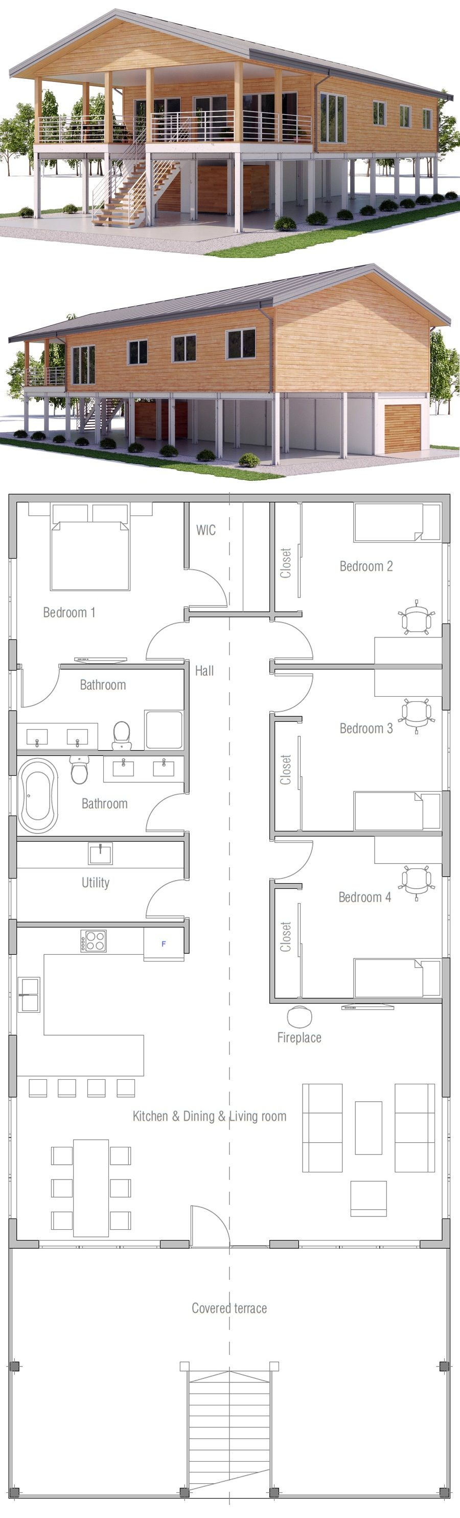 Raised coastal house plan house on piers casas for House plans on piers