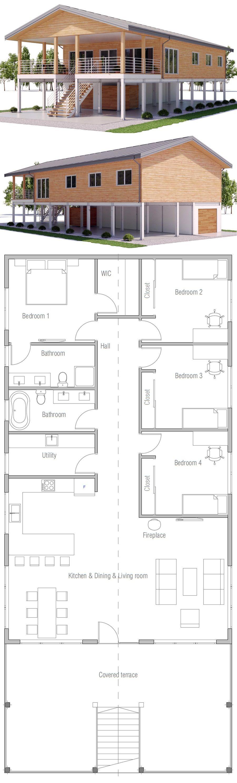 Raised Coastal House Plan House On Piers Casas