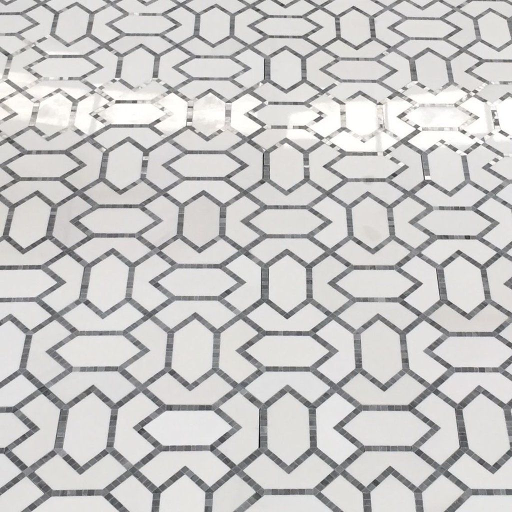 White Thassos And Prima Grey Marble Waterjet Mosaic Tile In