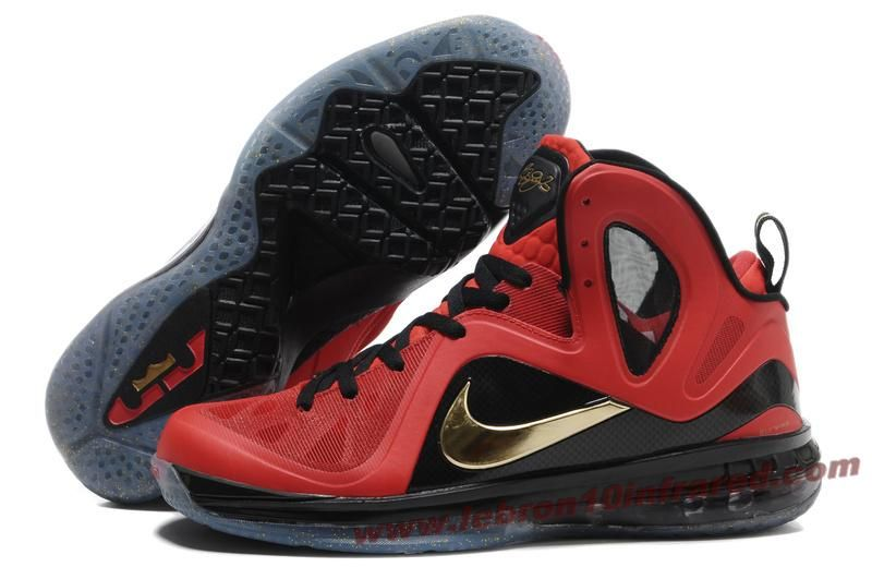 Nike Basketball Lebron 9 Shoes PS Elite Finals Away PE Red Black Gold  516958 i find a new site have amazing price