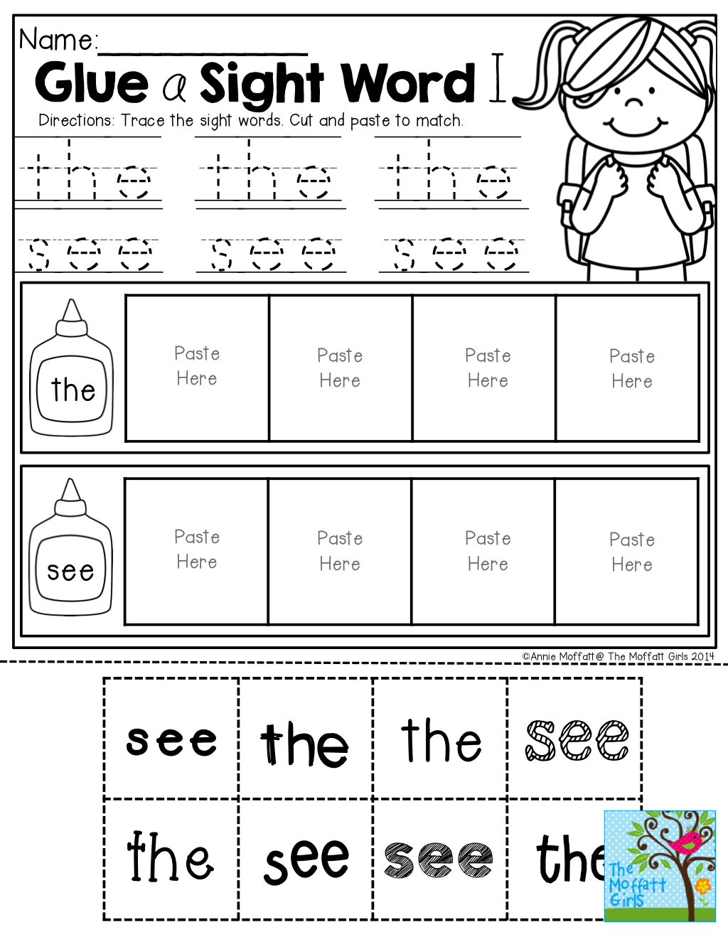 Glue And Match A Sight Word In The Back To School No Prep