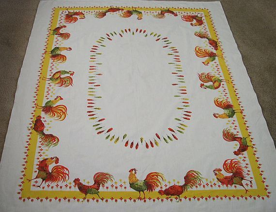 Vintage Rooster Print White Cotton Tablecloth By MissIvyVintage, $19.99